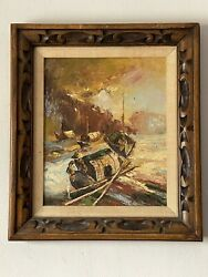 Mid Century Modern Abstract Oil Painting 1950s Vintage Asian Chinese - Yoo Tin