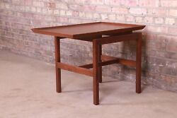 Jens Risom Mid-century Modern Sculpted Walnut Cantilevered Occasional Side Table