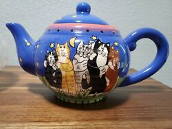 Candace Reiter Starry Nights 5 Cats 2001 Catzilla 6 Cup 48 Oz Teapot With Lid