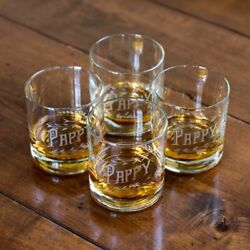 Pappy Van Winkle Bourbon Old Fashion 2 Glasses Etched Whisky Guy Man Gift