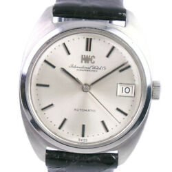 Wristwatch Antique Date 1827 Men's Used Silver Black Automatic Leather