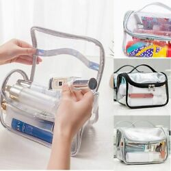 Clear Wash Makeup Bag Travel Cosmetic Transparent PVC Toiletry Pouch Organizer $9.49