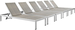 Modway Shore Aluminum Wicker Rattan Outdoor Patio Six Poolside Chaise Lounge Cha