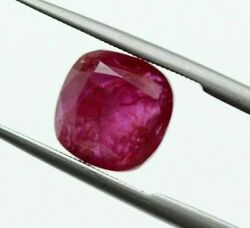 3.34 Ct Natural Ruby 8mm Square Old Burma Gii Certified Unheated Loose Red Gem