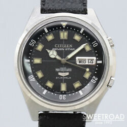 Citizen Seven Star 2812-y Vintage Day Date 21 Jewels Black Automatic Mens Watch