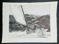 Edward Hopper The Catboat Art Open Edition Print Lithograph Signed Autographed