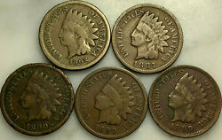 1862 1887 1890 1890 1899 Indian Head Cent Penny 5 Coin Lot 146b