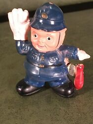Rare Antique Figural Celluloid Tape Measure Police Man Cop Stop Sign Billy Club