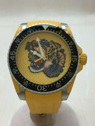 Dive Tiger 136.3 Quartz Analog Leather Stainless Yellow Menand039s Watch[u0728]