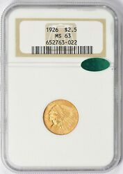 1926 Indian Head Quarter Eagle 2.5 Gold Ngc Ms63 Cac