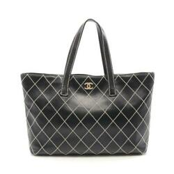 Wild Stitch Tote Bag Leather Black Gold Fittings Collection Shippingfree