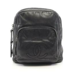 Coco Mark Bag Puck Backpack Leather Black Antique Gold Fittings Authentic