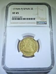 1776 Xf Spanish Gold 2 Escudos Doubloon Ngc Antique 1700s Pirate Treasure Coin