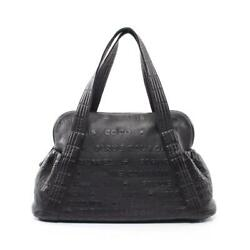 Unlimited Hand Bag Mini Boston Leather Black Silver Fittings Embossed