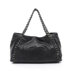 Coco Mark Chain Shoulder Bag Leather Black Antique Silver Fittings Series
