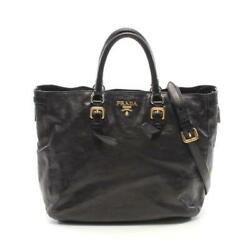 Prada Glace Zippers 2way Hand Bag Leather Black Complete Shippingfree From Japan