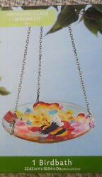 Glass Hanging Bird Bath And Feeder Bee Flowers Chain Included Free Shipping