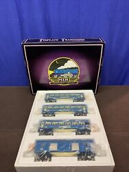Mth Tinplate O Gauge 4-car 600 Series Blue Comet Two Tone Blue Set In Box