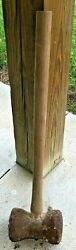 Antique Primitive Iron And Wood Railroad Or Circus Stake Maul Sledge Mallet Hammer
