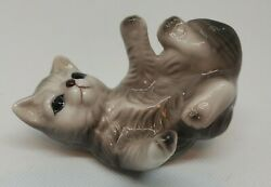 Vintage Playful Grey Brown Cream Colored Kitty Cat Porcelain Figurine