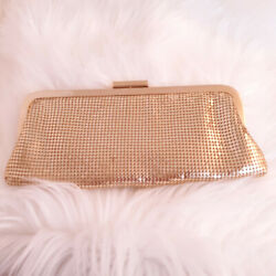 Vintage Carlo Fellini Gold Clutch Evening Bag w Detachable Gold Chain Pre Owned $24.98