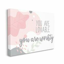 Stupell Industries You Are Loveable Phrase Abstract Pink Nature Design By Kim...