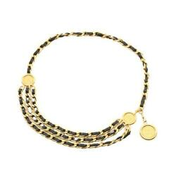 Coco Mark Chain Belt Gp Leather Gold Black Vintage Authentic Shippingfree