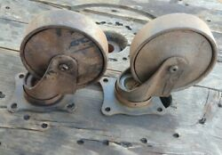 Antique / Vintage Industrial Cast Iron 4.75 Inch Darnell Swivel Casters 2