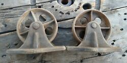 Antique / Vintage Industrial Cast Iron 5 Inch Casters / Wheels Set Of 2 Static