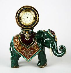 Jay Strongwater Enameled Metal And Crystals Elephant Clock