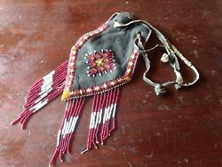 Native American Beaded Purse Bag Medicine Pouch Beads Leather