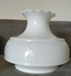 Vintage Huge White Fluted Ruffled Top Glass Lamp Shade 9 And 3/4 Fitter 11 Tall