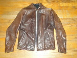 Vintage Brown Leather Motorcycle Cafe Racer Jacket Sz 8 Womens