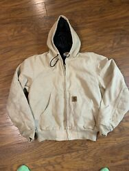 Vtg Duck Canvas Hooded Jacket Quilted Lining Faded Distressed Size M