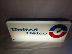 Vintage United Delco Advertising Lighted Clock Works Gm Chevy Gmc Ac Delco