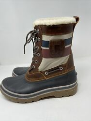 Mens Sperry 12 Shearling Rain Snow Boots Leather Warm