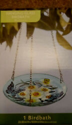 Glass Hanging Bird Bath And Feeder Blue Butterfly Chain Included Free Shipping