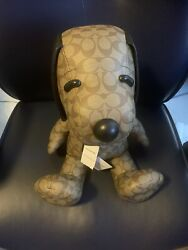 Nwt Coach X Peanuts Snoopy Leather Collectible Plush Teddy Bear Doll Toy Brown