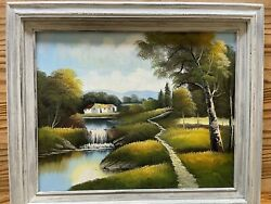 Original Landscape Oil Painting Farmhouse Water Fall Framed 21andrdquo By 25andrdquo Unsigned