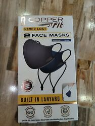 New Copper Fit 2 Face Masks W Lanyard 1 Blue And 1 Charcoal Never Lost Nip Freesandh