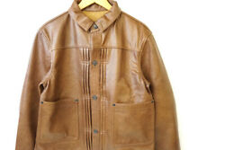 New Rrl Triple Pleated Blouse Men's Leather Jacket Size M Brown