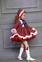 Baby Girl Christmas Dress With Hat Autumn Winter Red Plaid Spanish Pompom Ball