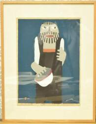 Umetaro Azechi Woodblock Print With Autograph Man With White Hat Vintage 1972