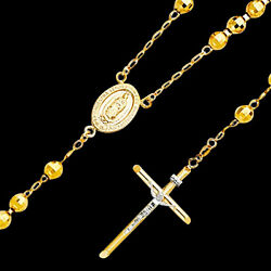 14k Yellow Gold Mens Womens Ball Rosary Necklace Pendant 5mm 26
