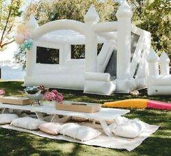 Inflatable White Bounce House Wedding Party Bouncer Castle With Air Blower New
