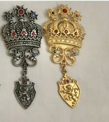 Crown Brooches-pins. Unsigned