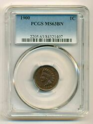 1900 Indian Head Cent Ms63 Bn Pcgs