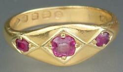 Exquisite Antique Victorian 22k Gold Ruby 3 Stone Gypsy Ring London 1875 Box S 9