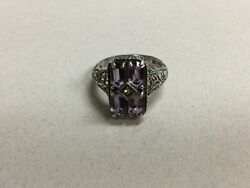 Sterling Silver Amethyst Antique Style Ring Size 6 Cna