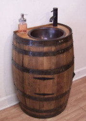 3/4 Rustic Whiskey Barrel Vanity For Small Bath-copper Sink-faucet-stopper-free